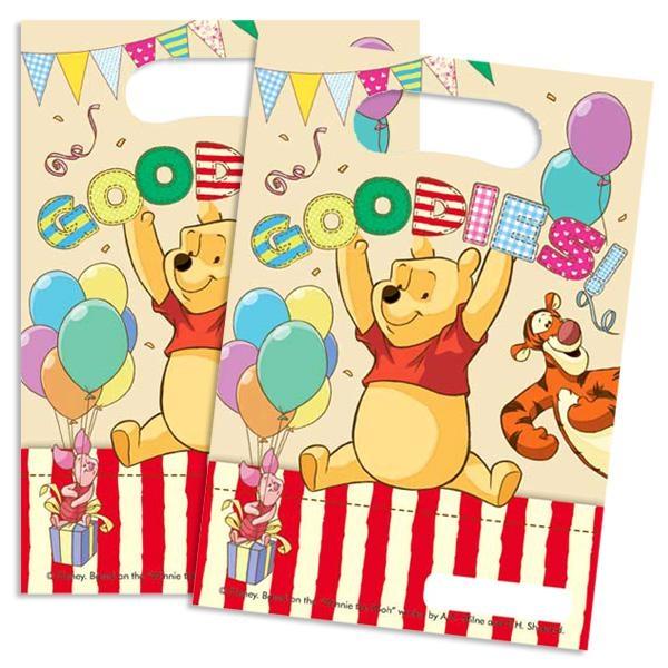 Winnie Puuh Tütchen 6er Pack, aus PVC-Folie mit dem Aufdruck GOODIES