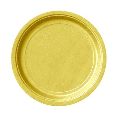 goldene Pappteller 8er Pack, einfarbige Einwegteller, 18cm