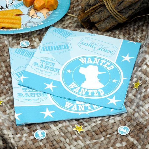 Wilder Westen Papierservietten für kleine Cowboys, 20 Stk, 33x33cm
