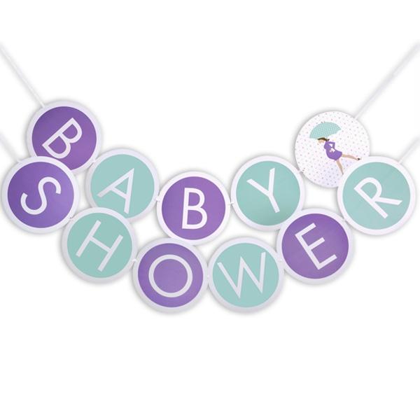 """Babyparty - werdende Mama, Schriftzug-Girlande """"Baby-Shower"""", 3m"""