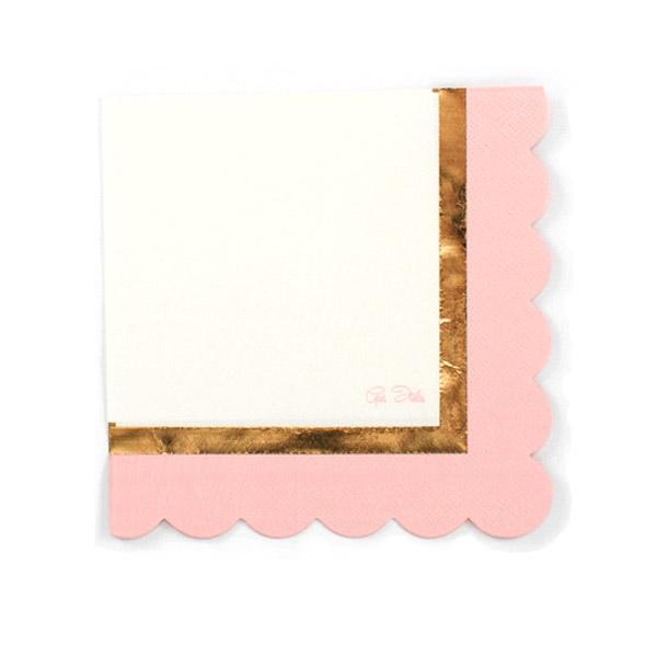 Partyservietten, rosa/weiß, 16 Stück, 33 cm