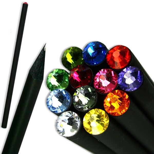 Bleistift schwarz mit Glitzerstein, 17,7cm, 1 Stift, tolles Geschenk