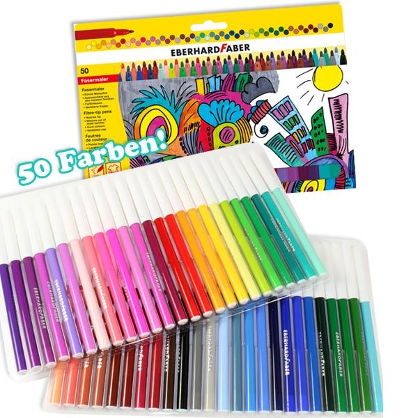 Filzstifte XL Set mit 50 Farben, tolle Filzmaler als beliebtes Geschenk