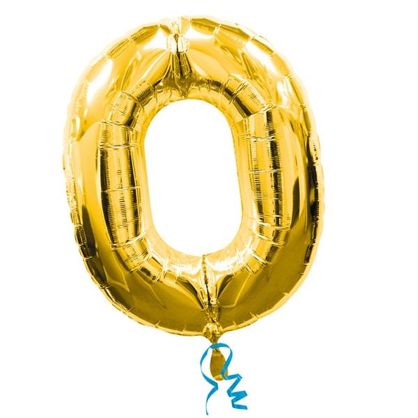 XXL Folienballon als Zahl 0 in Gold, 1 Zahlenballon für runde Geburtstage