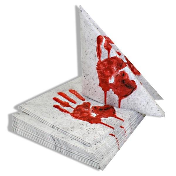 Partyservietten -Blutige Hand-, 20er Pack, 33cm, Pappteller zur Gruselparty, Halloween