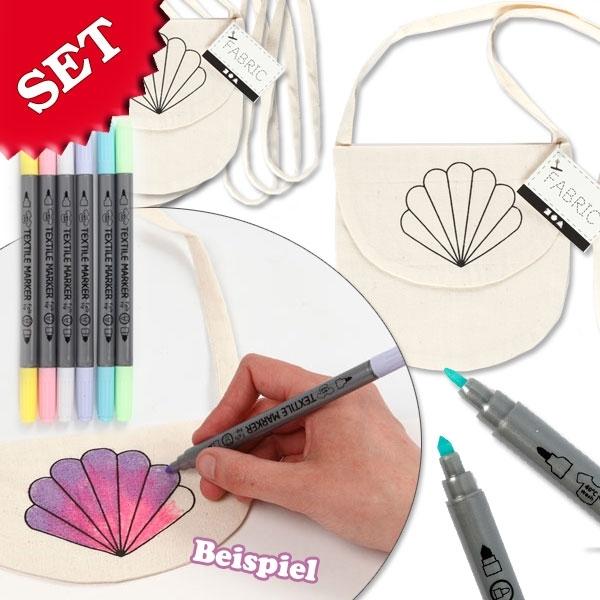 Muscheltaschen selbst bemalen, 1 Tasche inkl. 6 Pastell Textilstiften, P1
