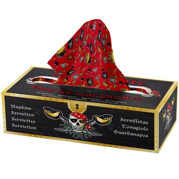 Tissuebox Red Pirate, 85 Zellstoff-Servietten, zweilagig, je 18 × 13cm