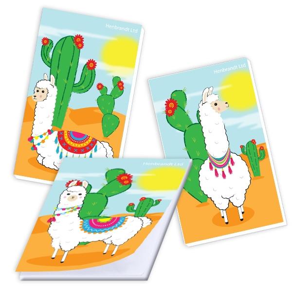 Notizblock mit witzigem Lama-Bild, 1 Stück, Mitgebsel für Zooparty