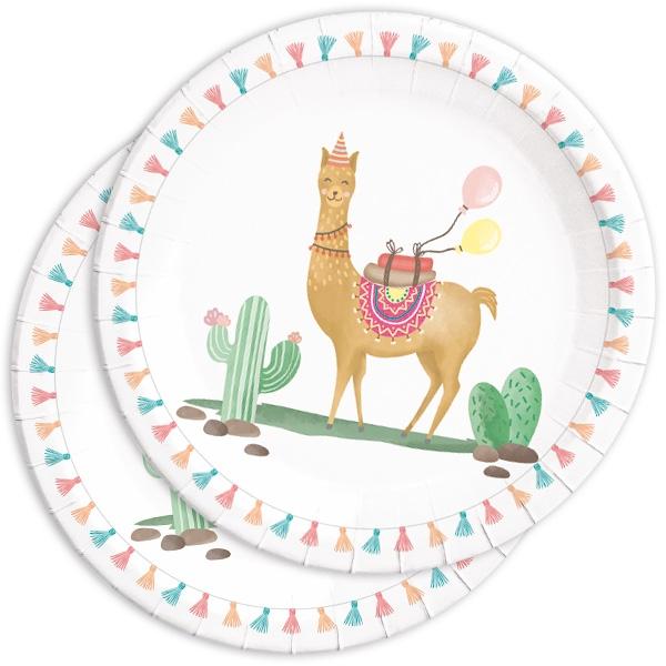 Lama Partyteller mit witzigem Partymotiv, 8er Pack, Pappe, 22,5cm