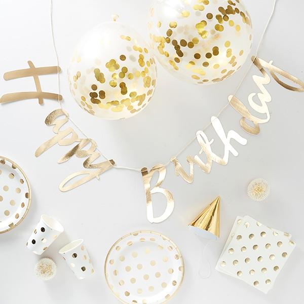 Happy Birthday Partykiste, gold gepunktete Deko, 70-teilig