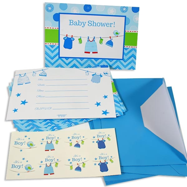 It`s a boy - Einladungskarten plus Umschläge u. Sticker, blau, Babyparty
