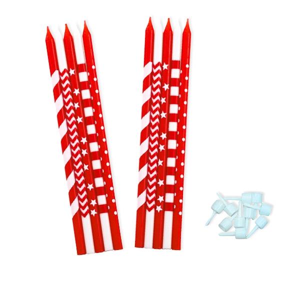 Kerzen rot-weiß, 10 Stück, 15 cm, Tortenkerzen mit Streifen & Sternen