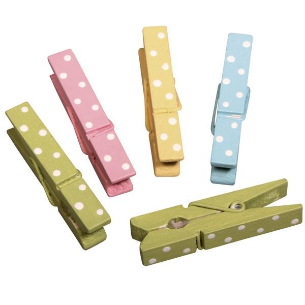 Holzklammern, 12er Pack, 4,5cm, in vier Farben, gepunktet