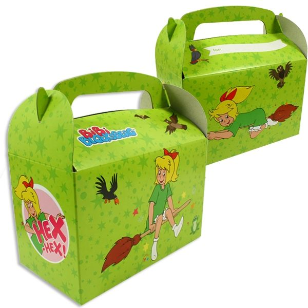 Geschenkboxen Bibi Blocksberg, Mitgebsel-Boxen aus Pappe, 6er Pack