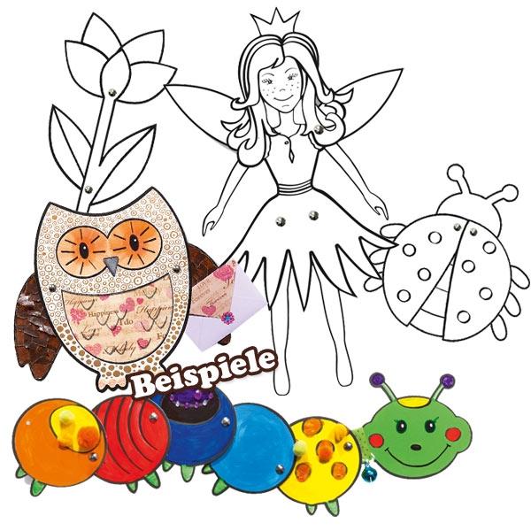 Gelenkfiguren Bastelset für Mädchen, 5er, inkl. Klammern, zum Selbstgestalten