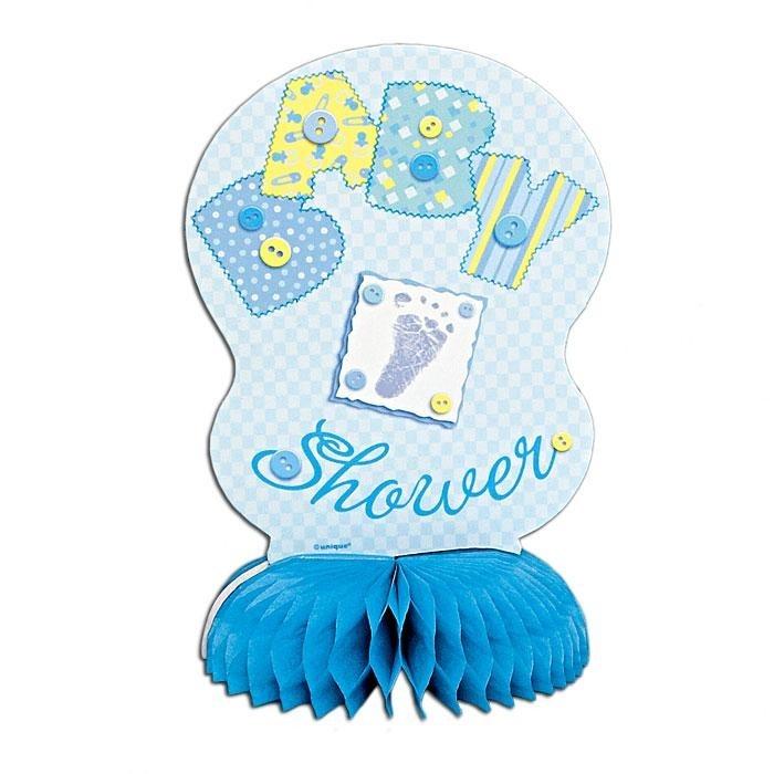 "Babyparty-Wabendeko ""Baby Shower"", blau, 15 cm, 4er-Pack, f.Geburt v.Jungen"