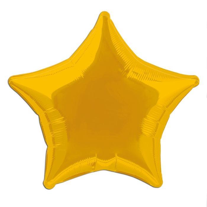 Folienballon golden als Stern 45cm, metallisch glänzender Heliumballon