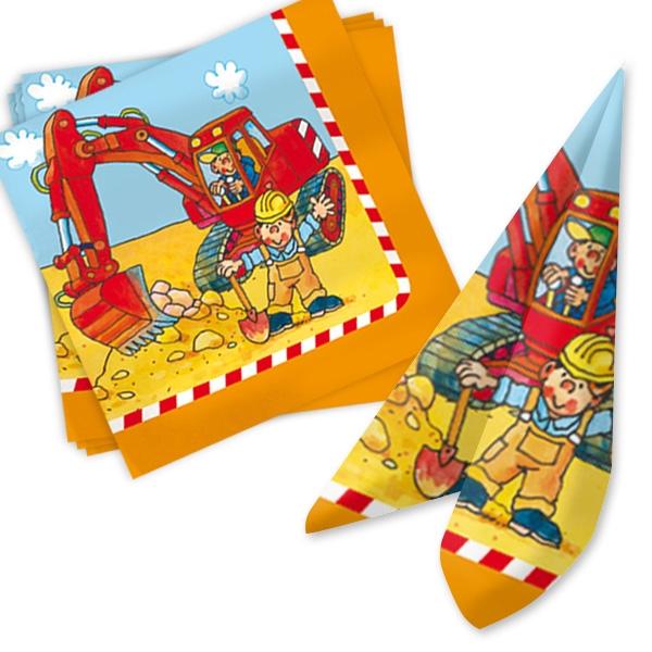 Servietten für Baustelle Kindergeburtstag, 20 Stück Papierservietten