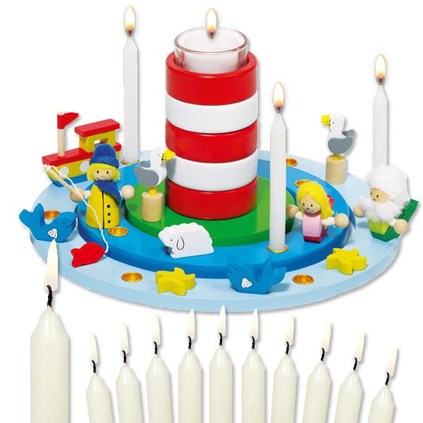 "Goki Geburtstagskranz Set ""Leuchtturm"", inkl. 11 Kerzen"