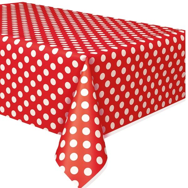 Tischdecke in Rot mit weißen Punkten aus Folie, ca. 2,8 × 1,4m