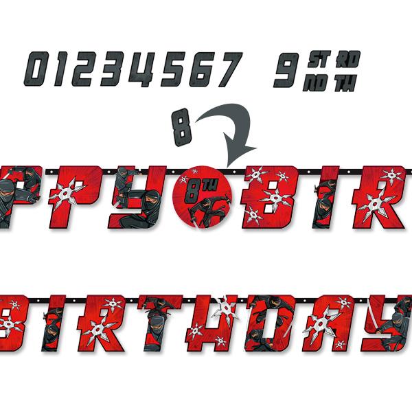 Ninja Buchstabenkette, 320 × 25cm, Happy Birthday mit Zahlen-Stickern
