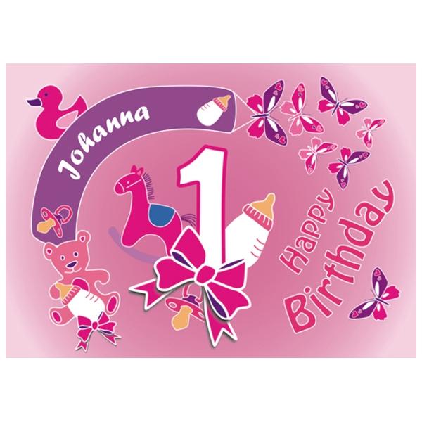 Kuchenauflage 1.Geburtstag Girl +Name +Alter, eckig, ZA5
