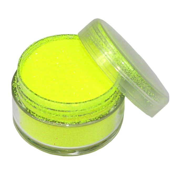Neon-Glitzerpulver in Gelb, 5ml Topf, Kinderschminke für Schwarzlicht