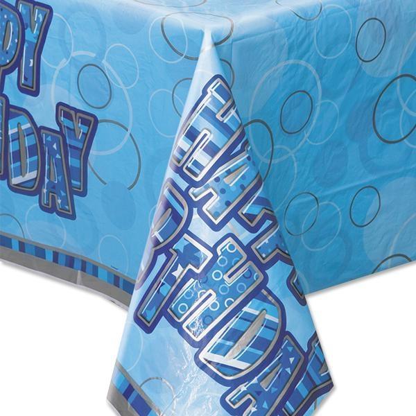 Happy Birthday – Party-Tischdecke in knallig Blau