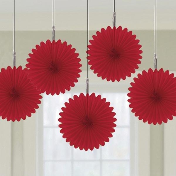 Kleine Papierfächer im 5er Pack, Rot, Partydeko, zum Muttertag, Valentinstag, Thema Liebe, 15,2cm