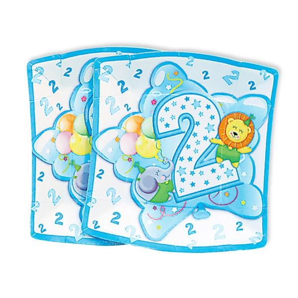Kleine Partyteller, 2. Geburtstag Deko Junge, 10 Stück, 19 cm