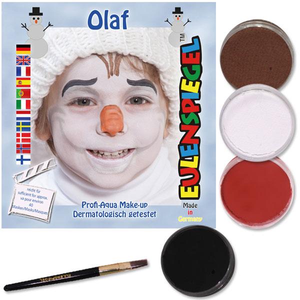 Schminkset Olaf, 4 Farben, 1 Pinsel, Anleitung