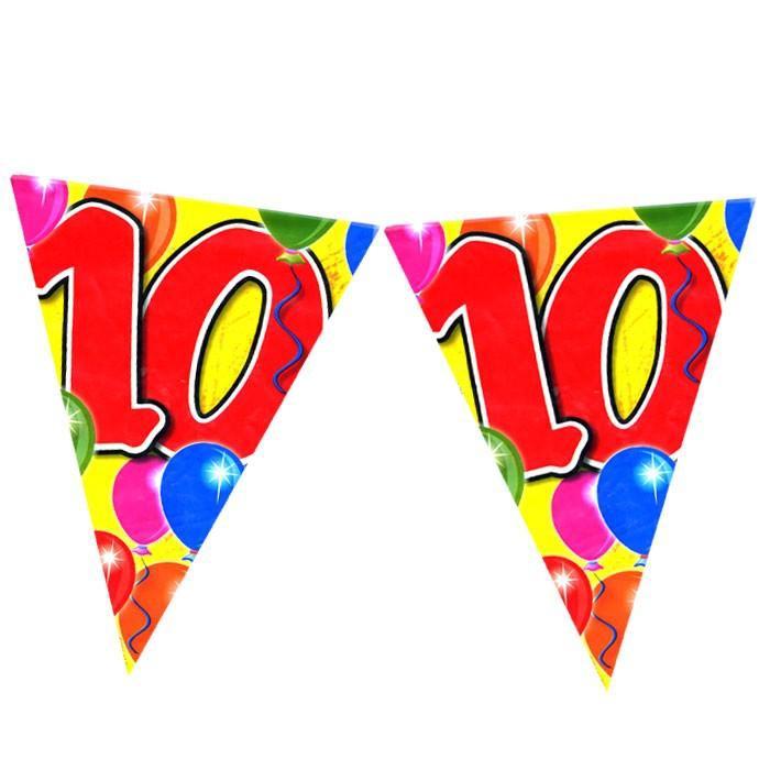 Wimpel-Partykette zum 10. Geburtstag, 10m, PVC