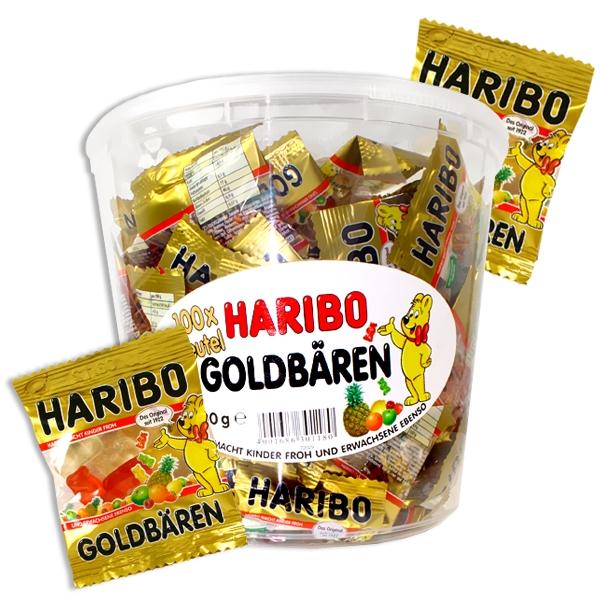 100 Haribo Goldbären Minis 980 g, Fruchtgummi-Tütchen als Dankeschön für Kinder