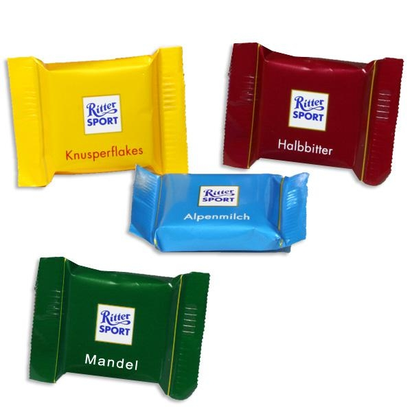 Ritter Sport Quadretties-Mini, 4 Geschmacksrichtungen möglich, süßes Mitgebsel für Kinder