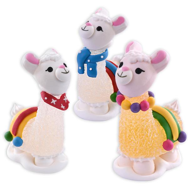 Lama Zuckerfiguren Set, 3 Stück aus Zucker & Gelee