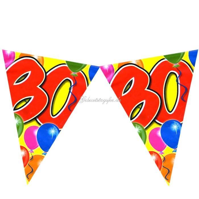 Wimpelkette zum 80. Geburtstag, 10m Partywimpel, Folie