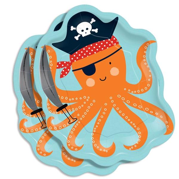 Ahoi Piraten Party Oktopus Teller, 8 Stk, 17,7cm
