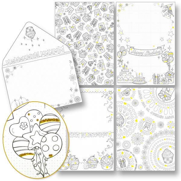 Design-Ausmalkarten Geburtstag plus Kuverts, mit Glitter, 15cm x 11cm, Happy Birthday