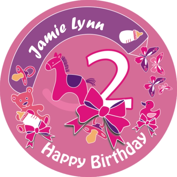Tortenaufleger zum 2. Geburtstag Mädchen mit Name – rund