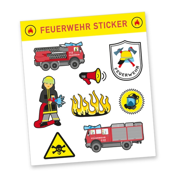 """Stickerbogen """"Feuerwehr"""" mit 8 Stickern"""
