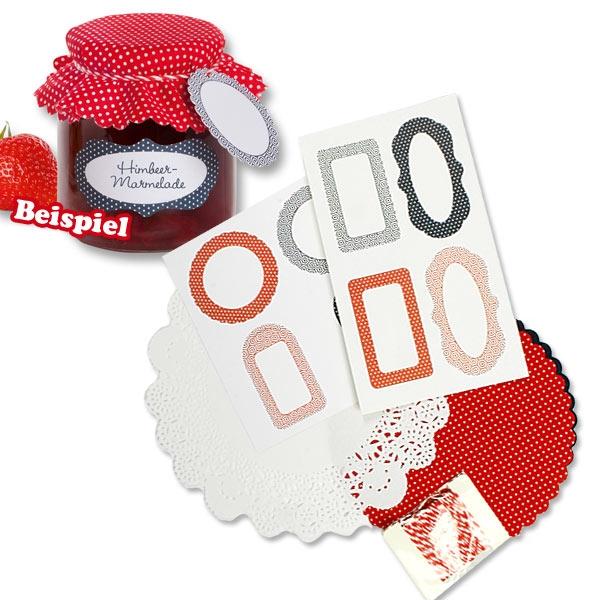 Einmachglas-Dekoset, Rot, für hochwertig verzierte Einweggläser zum Schenken