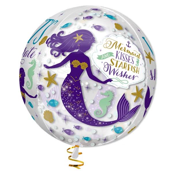 Meerjungfrau Bubble Ballon, 40cm, heliumgeeignet