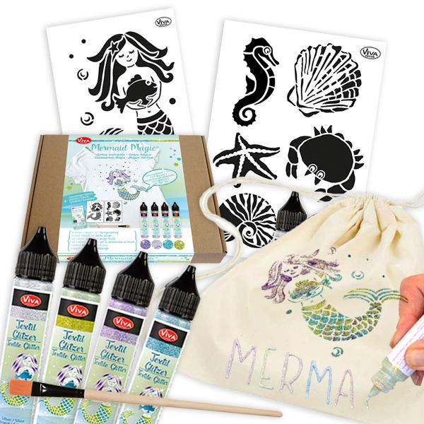 Glitzer Meerjungfrau Textilset für 3 Beutel mit Farben, Pinsel, Schablonen, 11tlg.