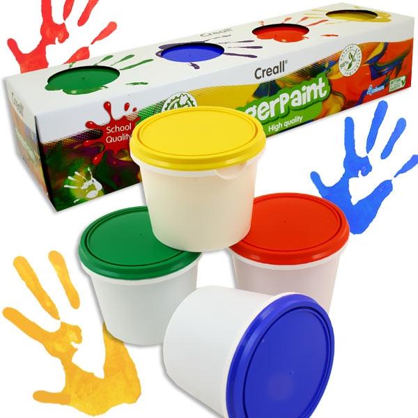 4 Dosen Fingerfarben, je 125g von Creall, für kleine Kids, mischbar, sehr gut deckend