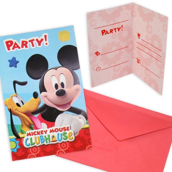 Mickey Einladungen, 6 Stk + Umschläge