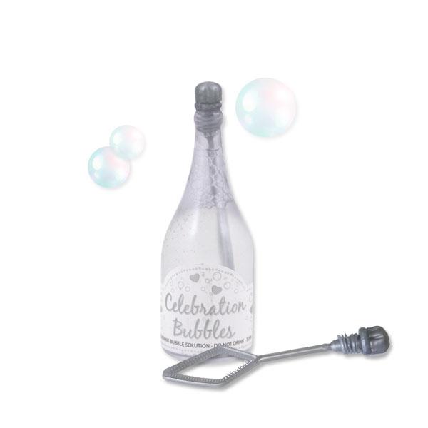 """Seifenblasen in kleiner """"Sektflasche"""", 1 Stk, 9cm, silber"""