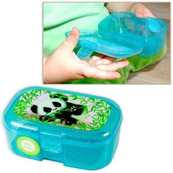 Panda Mini-Lunchbox, 10,5cm x 7cm, Frühstücksdose mit süßem Panda