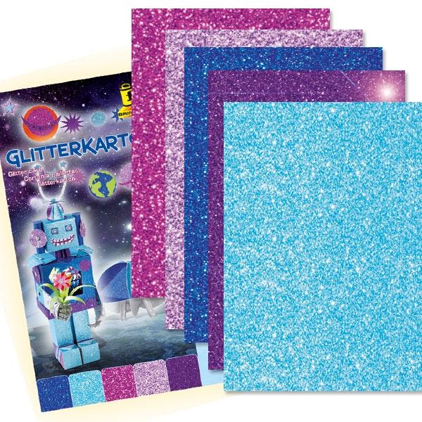 Glitzerkarton ICE, 5 Blatt, 24×34cm, einseitig mit Glitter veredelte Pappe
