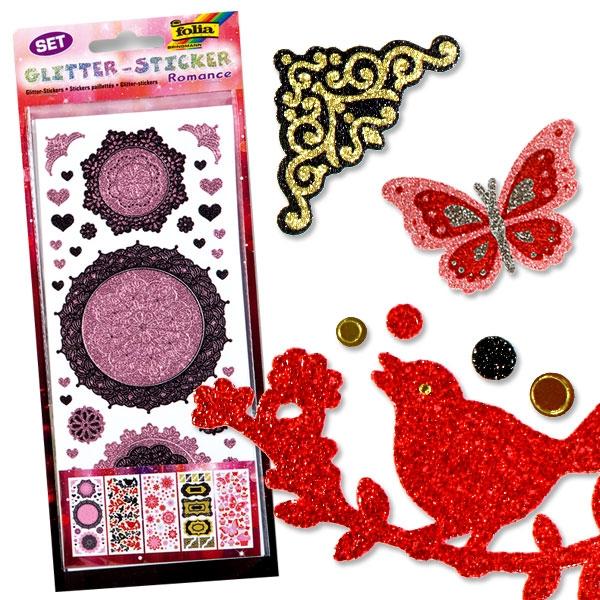 Glitzer-Sticker Set mit 5 Bögen, hochwertige Glitteraufkleber ROMANCE, romantische Motive