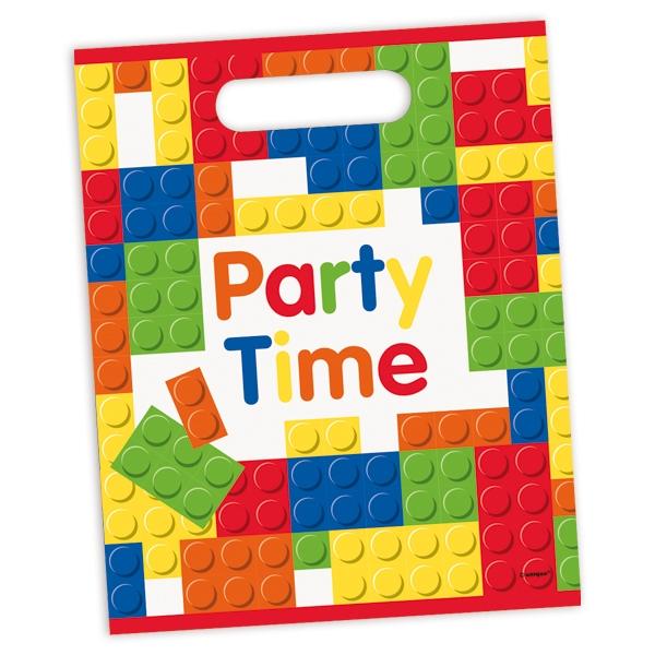 Partytütchen mit Steckbaustein-Motiv 8er Pack, bunte Geschenktüten